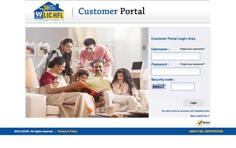 Screenshot of Login Page lichousing.com - Login | LIC HFL | Customer Portal - captured Dec. 2, 2019