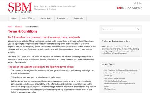 Screenshot of Terms Page sbmdigital.co.uk - Terms & Conditions - captured Nov. 11, 2018
