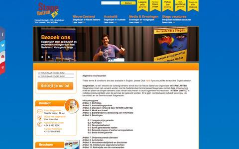 Screenshot of Terms Page stagereizen.nl - Algemene voorwaarden van Stagereizen - captured Sept. 30, 2014