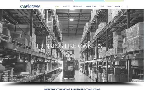 Screenshot of Home Page sdrventures.com - SDR Ventures Website - captured Oct. 3, 2014