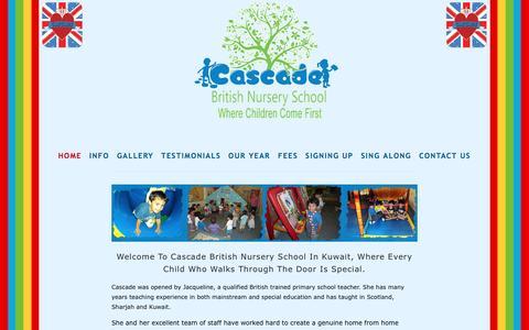 Screenshot of Home Page cascade-kuwait.com - Cascade British Nursery Kuwait - captured June 14, 2016
