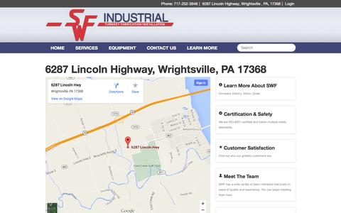 Screenshot of Maps & Directions Page swfindustrial.com - SWF Industrial - 6287 Lincoln Highway, Wrightsville, PA 17368 - captured Oct. 3, 2014