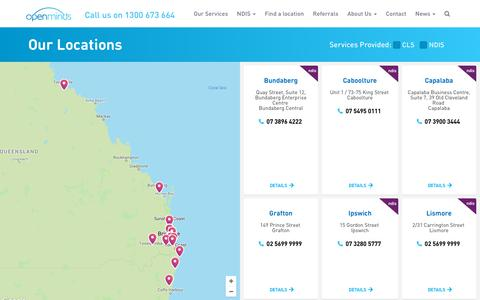 Screenshot of Locations Page openminds.org.au - Find a location | Open Minds - captured Sept. 20, 2018