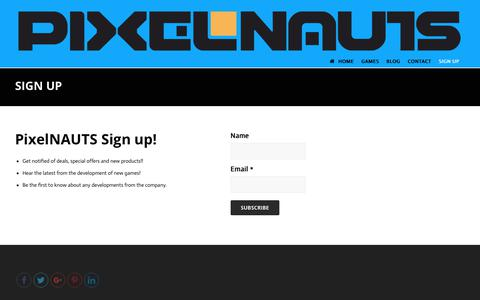 Screenshot of Signup Page pixelnauts.ca - SIGN UP | PixelNAUTS Games - captured Nov. 4, 2018