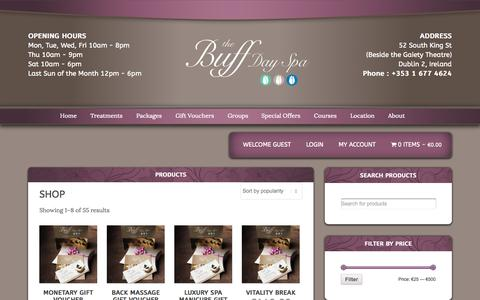 Screenshot of Products Page thebuffdayspa.com - Products Archive - The Buff Day SpaThe Buff Day Spa - captured Oct. 1, 2014