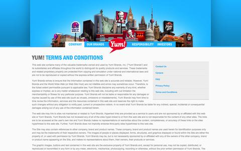 Screenshot of Terms Page yum.com - Yum! Brands - Defining Global Company that Feeds the World - captured Sept. 19, 2014