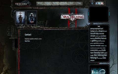 Screenshot of Contact Page neocoregames.com - Contact | - captured Sept. 18, 2014