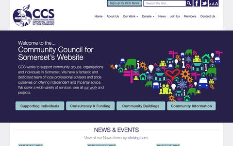 Screenshot of Home Page somersetrcc.org.uk - The Community Council for Somerset - CCS supports community groups, organisation and individuals in Somerset's communities through a range of diverse projects… - captured Nov. 10, 2018