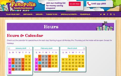 Screenshot of Hours Page funopolisfamilyfuncenter.com - Hours & Calendar | Funopolis Family Fun Center - captured Jan. 8, 2016