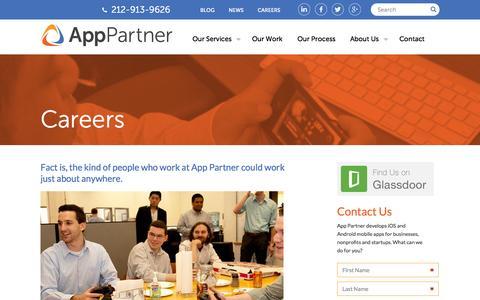 Screenshot of Jobs Page apppartner.com - Work Here | App Partner - captured Nov. 2, 2014