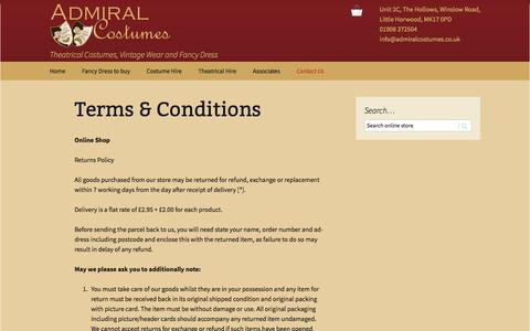 Screenshot of Terms Page admiralcostumes.co.uk - Terms & Conditions | Admiral Costumes - captured July 29, 2018