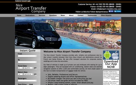Screenshot of Home Page airport-transfers-nice.com - Nice Airport Transfer Company, Airport Transfers to Destinations on The French & Italian Riviera - captured Sept. 1, 2015