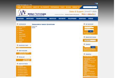 Screenshot of FAQ Page mulligantechnologies.com captured Oct. 7, 2014