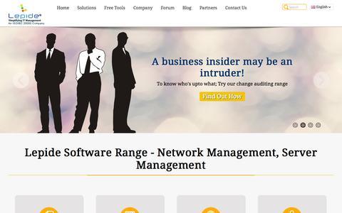 Screenshot of Home Page lepide.com - Lepide Software - Provider of Enterprise Level Network Management, Server Management and IT Management Tools - captured Sept. 25, 2014