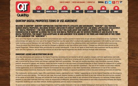 Screenshot of Terms Page quiktrip.com - Terms Of Use - captured May 13, 2016