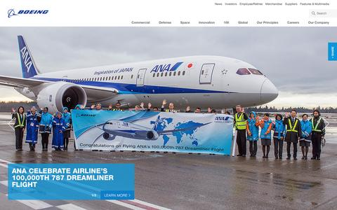 Screenshot of Home Page boeing.com - Boeing: The Boeing Company - captured Jan. 13, 2016