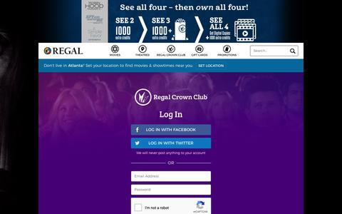 Screenshot of Login Page regmovies.com - Login | Regal Crown Club, Regal Cinemas, Edwards & UA Theatres - captured Sept. 28, 2018