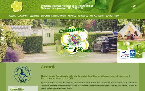 Screenshot of Home Page camping-lesrioms.com - Camping, camping nature à Barrou (37) - Camping Les Rioms - captured March 23, 2017