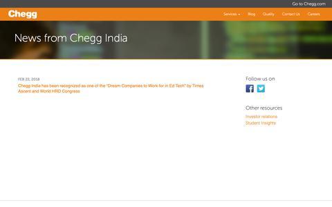 Screenshot of Press Page cheggindia.com - News from Chegg India - Chegg India - captured Nov. 3, 2018