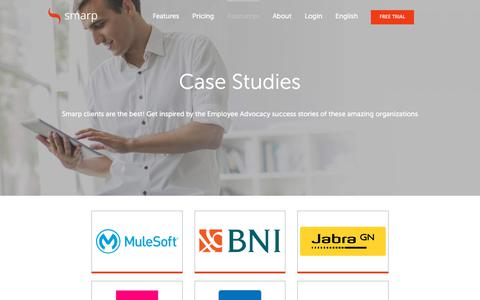 Screenshot of Case Studies Page smarp.com - Employee Advocacy & Engagement Case Studies | Smarp - captured July 13, 2018