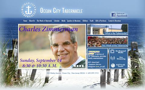 Screenshot of Home Page octabernacle.org - Ocean City Tabernacle - captured Oct. 7, 2014