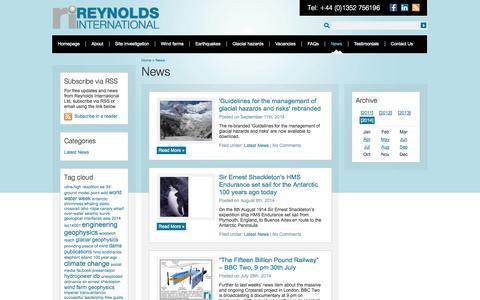 Screenshot of Press Page reynolds-international.co.uk - News - captured Oct. 9, 2014
