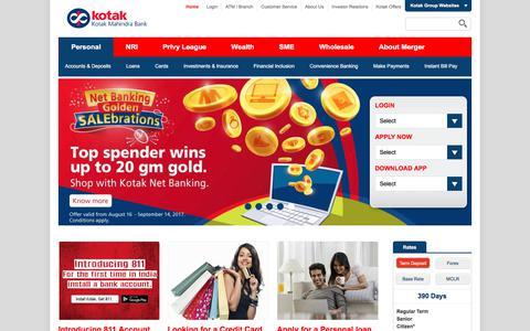 Screenshot of Home Page kotak.com - Savings Accounts, Personal Loans and Credit Cards - Kotak Mahindra Bank - captured Aug. 22, 2017