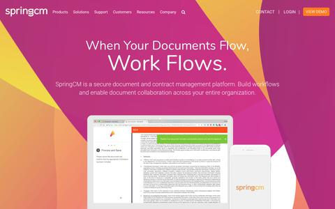 Screenshot of Home Page springcm.com - SpringCM | When Your Documents Flow, Work Flows - captured July 27, 2018
