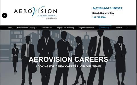 Screenshot of Jobs Page aerovi.com - Careers - AeroVision International - captured Dec. 18, 2018