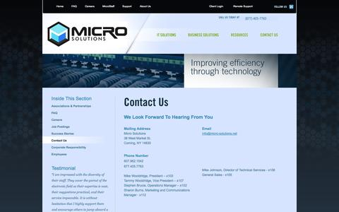Screenshot of Contact Page Support Page micro-solutions.net - Contact Micro Solutions - captured Oct. 27, 2014