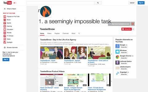 Screenshot of YouTube Page youtube.com - ToastedSnow  - YouTube - captured Nov. 5, 2014