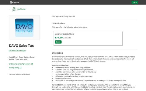 DAVO Sales Tax by DAVO Technologies | Clover App Market | www.clover.com