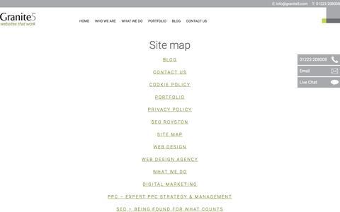 Screenshot of Site Map Page granite5.com - Site map - - captured Nov. 11, 2016