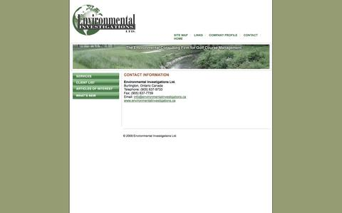 Screenshot of Contact Page environmentalinvestigations.ca - Environmental Consulting Firm for Golf Course Management: Environmental Investigations Ltd. - captured Oct. 2, 2014
