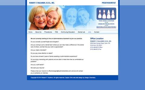 Screenshot of Jobs Page faulknerdentistry.com - Jobs - Prosthodontist - Cincinnati, Ohio - Robert F. Faulkner, D.D.S. - captured Oct. 7, 2014