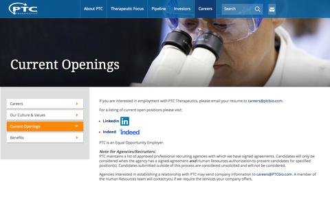 Screenshot of Jobs Page ptcbio.com - PTC Therapeutics: Current Openings - captured June 16, 2015