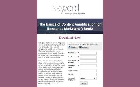 Screenshot of Landing Page skyword.com - Skyword: The Basics of Content Amplification for Enterprise Marketers - captured Aug. 19, 2016