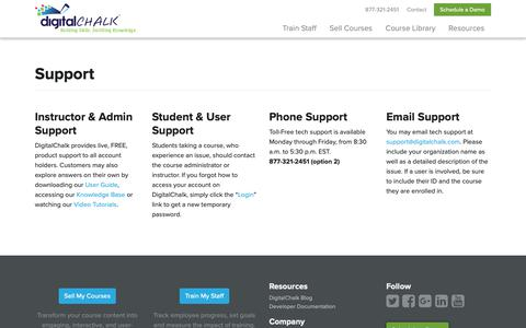 Screenshot of Trial Page Support Page digitalchalk.com - Instructor & Admin Support | DigitalChalk - captured Nov. 15, 2018