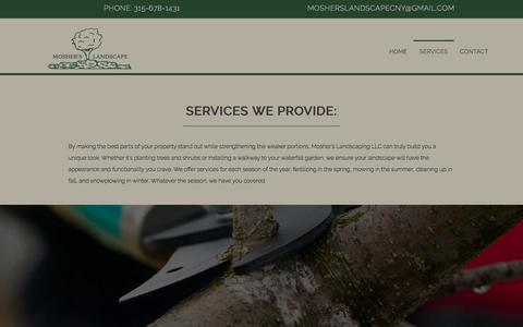 Screenshot of Services Page mosherslandscape.com - Lawn Care & Snow Removal in Baldwinsville, NY | Mosher's Landscaping LLC - captured July 2, 2018