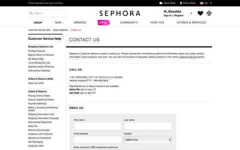 Contact Customer Service | Sephora