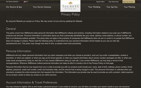 Screenshot of Privacy Page secretsresorts.com captured Nov. 17, 2017