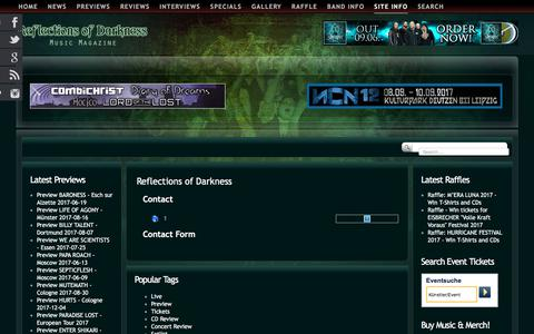 Screenshot of Contact Page reflectionsofdarkness.com - Reflections of Darkness - Music Magazine - Contact - captured June 13, 2017