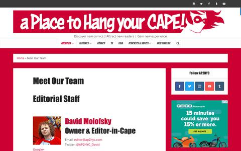Screenshot of Team Page ap2hyc.com - Meet Our Team | A Place to Hang Your Cape - captured Sept. 28, 2018