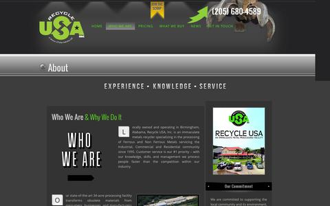 Screenshot of About Page recycleusainc.com - About Recycle, USA | Birmingham, Alabama Recycling | Recycle USA Inc - captured Feb. 25, 2016