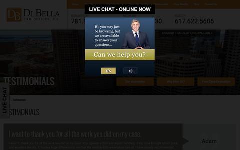 Screenshot of Testimonials Page dibellalawoffice.com - Testimonials - DiBella Law Offices, P.C. - captured Nov. 24, 2016