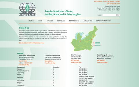 Screenshot of Contact Page arett.com - Arett Sales - Premier Distributor of Lawn, Garden, Home, and Holiday Supplies | 800 257-8220 - captured Nov. 21, 2016