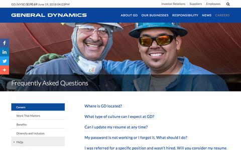 Screenshot of FAQ Page gd.com - Frequently Asked Questions | General Dynamics - captured June 20, 2018