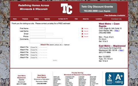 Screenshot of Contact Page tcdiscountgranite.com - Contact Twin Cities Granite for your next Granite Countertop - captured Sept. 20, 2018