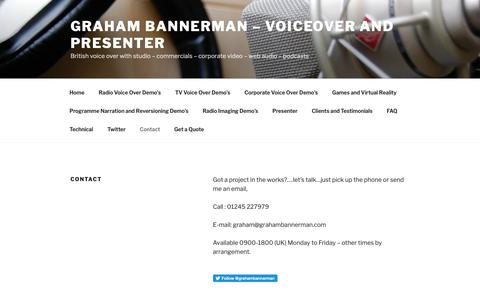 Screenshot of Contact Page grahambannerman.com - English Voice Over with studio-Graham Bannerman - Contact | Graham Bannerman - Voiceover and Presenter - captured Oct. 18, 2018