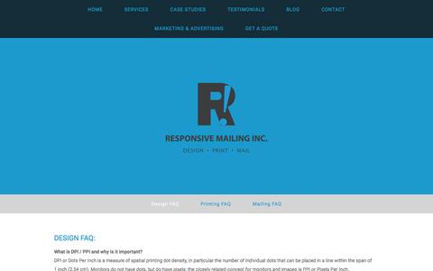 Screenshot of FAQ Page responsivemailing.com - Design FAQ — Responsive Mailing Inc., Barrie, Ontario, Canada - captured Feb. 25, 2016